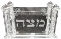 Matzah Holder Crystal Square Design with Pillars and Crystal Beads