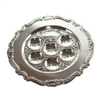 Seder Plate Silver Plated Round Filigree Border Trim Design 13""