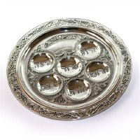 Seder Plate Silver Plated Round Filigree Border Design 16""