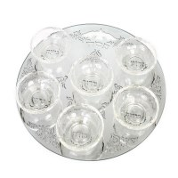 Seder Plate Crystal Designed with Silver Swirled Frames and 6 Elevated Bowls