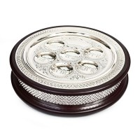 Silver Plated Wood Seder Plate and Matzah Holder 17""