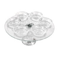 Seder Plate Crystal Designed with Silver Swirls and 6 Elevated Bowls