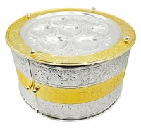 Seder Plate Kaarah 3 Tiered with Doors Silver Plated Gold and Silver Filigree Design