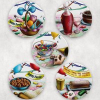 Mishloach Manos Coasters Illustrated Purim Design Snippets 5 Piece Set