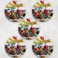 Mishloach Manos Coasters Illustrated Purim Design 5 Piece Set