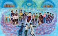 "Large Vinyl Sukkah Poster Simchas Torah Scene 30"" x 48"""
