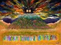 """Large Vinyl Sukkah Poster Exquisite Matan Torah Scene 30"""" x 40"""""""