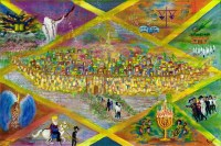 "Large Vinyl Sukkah Poster Journey Around the Year 32"" x 48"""