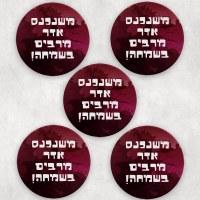 Mishloach Manos Coasters Mishenichnas Adar Design 5 Piece Set
