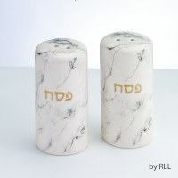 Ceramic Pesach Salt & Pepper Shaker Set Marble Design Gold Accent
