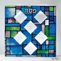 Seder Plate Stained Glass Square