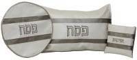 Pesach Covers Set Vinyl 3 Piece Ivory and Silvery Brown Horizontal Stripes Design