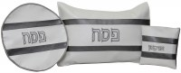 Pesach Covers Set Vinyl 3 Piece White and Dark Gray Horizontal Stripes Design