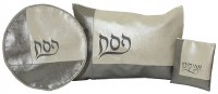 Pesach Covers Set Vinyl 3 Piece Ivory and Stroked Silver Corner Design