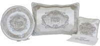 Pesach Seder Covers Set Silver Brocade 4 Piece Set
