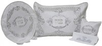 Pesach 4 Piece Seder Set with Plastic Brocade White and Silver Swirl Design Accentuated with Stones