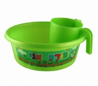Plastic Washing Bowl and Cup Set Children Theme Green