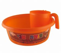 Plastic Washing Bowl and Cup Set Children Theme Orange