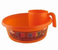 Plastic Washing Bowl and Cup Set Children Theme Orange