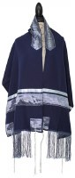 "Tallis Embroidered Viscose Blue and Silver Pattern Designed by Ronit Gur 20"" X 72"""