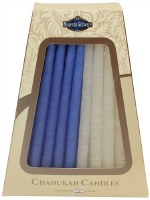 """Safed Handcrafted Chanukkah Candles Blue and White 6"""" 45 Pack Burn Time 1 Hour"""
