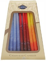 """Safed Handcrafted Chanukkah Candles Blue Red and Orange 6"""" 45 Pack"""