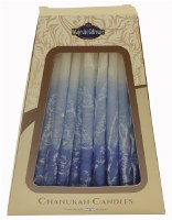 "Safed Handcrafted Chanukkah Candles Blue and White 6"" 45 Pack"