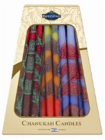 "Safed Handcrafted Chanukah Candles Blue Red and Yellow 6"" 45 Pack"