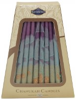 Safed Handcrafted Hanukkah Candles, 6-Inch, Purple/Green, 45-Pack