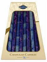 "Safed Handcrafted Chanukah Candles Blue and Purple 6"" 45 Pack"