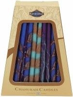 "Safed Handcrafted Chanukkah Candles Blue Purple and Earthtones 6"" 45 Pack"