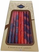 Safed Handcrafted Hanukkah Candles, 6-Inch, Pink/Blue/Orange/Purple, 45-Pack