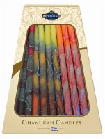 "Safed Handcrafted Chanukkah Candles Orange Yellow and Purple 6"" 45 Pack"