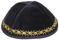 Kippah Navy Velvet with Gold Embroidered Trim