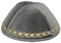 Kippah Grey Velvet with Gold and Silver Embroidered Trim