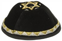 Kippah Black Velvet with Embroidered Gold and Silver Patterned Trim and Star of David on Top