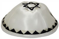 Kippah White Satin with Embroidered Blue and Silver Patterned Trim and Star of David on Top