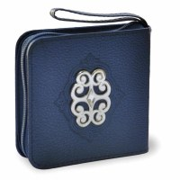 Mini Zipper Siddur with Stud Blue Faux Leather Sefard
