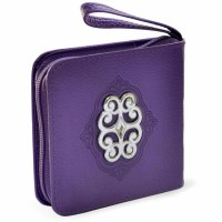 Mini Zipper Siddur with Stud Purple Faux Leather Sefard