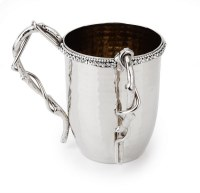 Washing Cup Hammered Stainless Steel Twisted Vine Handle Design