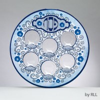 Laminated Seder Plate with Plastic Liners Blue Paisley Design