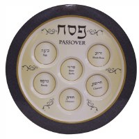 Melamine Seder Plate Blue and Gold Design