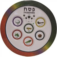 Melamine Seder Plate Colorful Border Design 12""