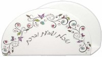 Napkin Holder White with Butterfly and Swirl  Design
