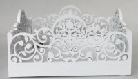 Napkin Holder White Wood Square Shape