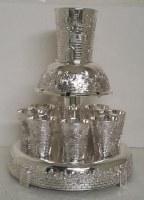 Wine Fountain Silver Plated 8 Cups Jerusalem Design