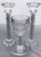 Candle Sticks and Kiddush Cup Crystal Set
