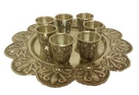 Shot Glasses Set of 6 Silver Plated with Flower Style Matching Tray