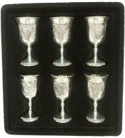 Shot Glasses Set of 6 Silver Plated with Accentuated Grape Design