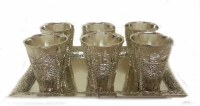 Shot Glasses Set of 6 Jerusalem Style with Matching Tray
